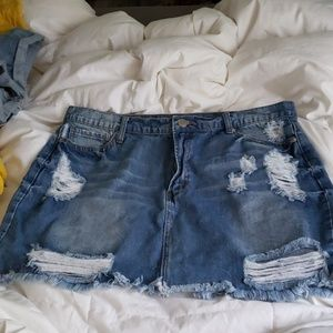 Forever 21+ distressed high waisted mini skirt
